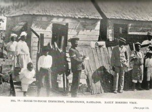 House-to-house inspection. Bridgetown, Barbados. Early morning visit. (Credit: Sir Rubert Boyce's Health Progress and Administration in the West Indies. London: John Murray, 1910).
